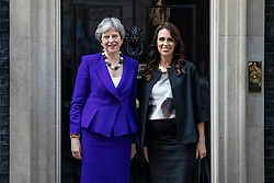 © Licensed to London News Pictures. 18/04/2018. London, UK. Prime Minister Theresa May (L) and Prime Minister of New Zealand Jacinda Ardern outside 10 Downing Street. Photo credit: Rob Pinney/LNP