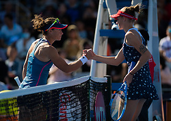 October 1, 2018 - Sam Stosur of Australia & Karolina Pliskova of the Czech Republic at the net after their first-round match at the 2018 China Open WTA Premier Mandatory tennis tournament (Credit Image: © AFP7 via ZUMA Wire)