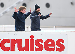 © Licensed to London News Pictures. 24/10/2018. London, UK. Two men playing terrorists hold up their hands after being taken captive by Marines for highjacking a city cruises boat, during the exercise. British Royal Marines are joined by the The Royal Netherlands Marines in a military demonstration at HNLMS Zeeland, which is anchored next to anchored next to HMS Belfast on the River Thames in central London. Members of the British and Dutch Royal families watched the event as part of a state visit to the UK. Photo credit: Ben Cawthra/LNP