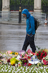 Parliament Square, Westminster, London, June 17th 2016. Following the murder of Jo Cox MP friends and members of the public lay flowers, light candles and leave notes of condolence and love in Parliament Square, opposite the House of Commons. PICTURED: A man walks past the bank of flowers in Parliament Square as the rain falls.