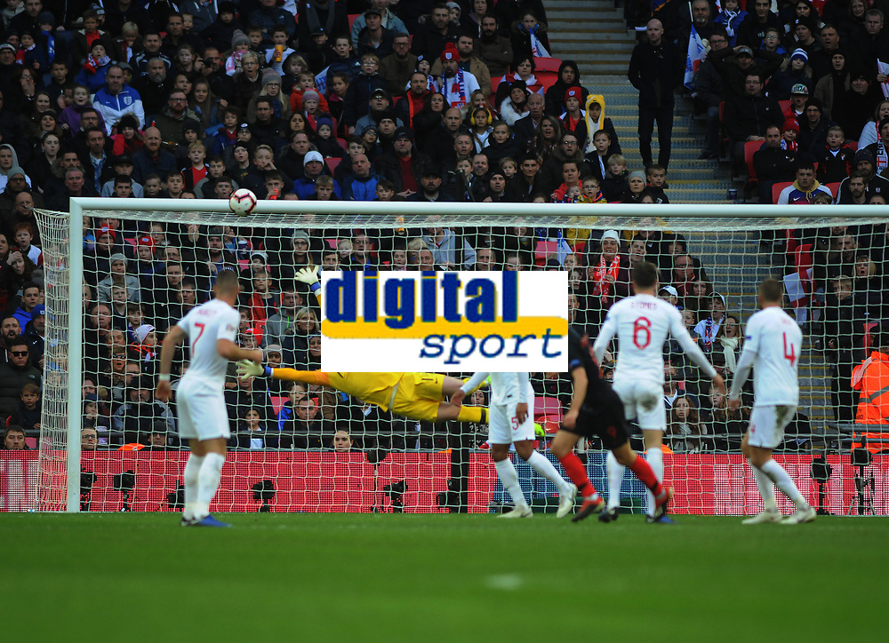 Football - 2018 / 2019 UEFA Nations League A - Group Four: England vs. Croatia<br /> <br /> Andrej Kramaric of Croatia scores his goal past the diving Jordan Pickford, at Wembley.<br /> <br /> COLORSPORT/ANDREW COWIE