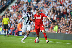 WEST BROMWICH, ENGLAND - Sunday, May 15, 2016: Liverpool's Brad Smith in action against West Bromwich Albion's Jonathan Leko during the final Premier League match of the season at the Hawthorns. (Pic by David Rawcliffe/Propaganda)