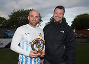 18/05/2017 - FC Boukir's Allan Jarrett is presented with the Dundee Saturday Morning Football League 2nd Division Player of the Year trophy by league president Iain Leith, Picture by David Young -