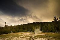 Mammatus Clouds at Sunset / Upper Geyser Basin, Yellowstone National Park, Wyoming
