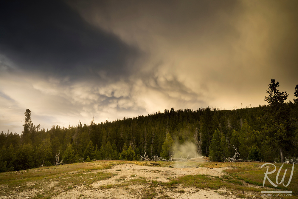 Mammatus Clouds at Sunset / Upper Geyser Basin, Yellowstone National Park, Wyoming