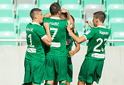 Players of NK Olimpija celebrate after scoring first goal during football match between NK Olimpija and NK Krka in Round 1 of Prva liga Telekom Slovenije 2014/15, on July 19, 2014 in SRC Stozice, Ljubljana, Slovenia. Photo by Vid Ponikvar / Sportida.com