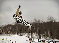 March 15, 2014: Unidentified competitor jump during the Red Bull Roll The Dice competition at Camp Fortune, Quebec on March 15 2014.