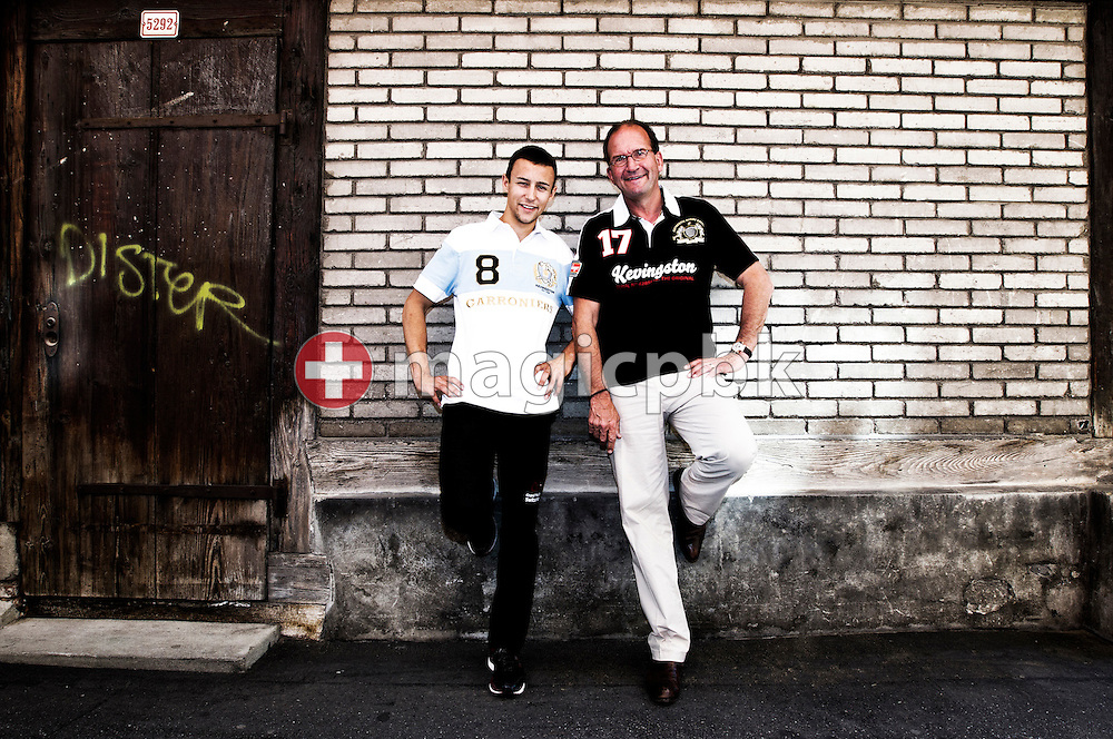 Moto2 racer (motorcyclist) Randy KRUMMENACHER (L) of Switzerland and and his manager Robert Siegrist pose during a portrait session in the old town of Winterthur, Switzerland, Saturday, May 21, 2011. (Photo by Patrick B. Kraemer / MAGICPBK)