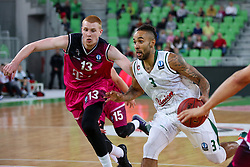 Zack Wright of Union Olimpija and Aaron White of Telekom Baskets Bonn during basketball match between KK Union Olimpija Ljubljana and Telekom Baskets Bonn (GER) in Round 3 of EuroCup 2015/16, on October 28, 2015 in Arena Stozice, Ljubljana, Slovenia. Photo by Matic Klansek Velej / Sportida.com