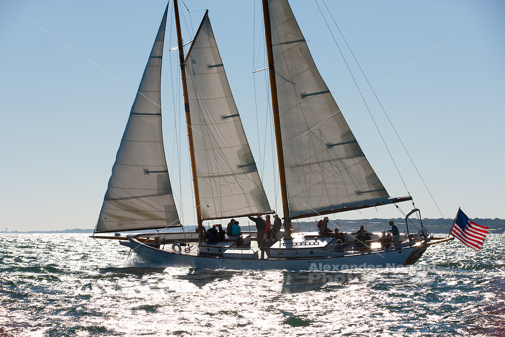 The crisp light and stiff breeze make a perfect sailing day on Narragansett Bay for SV Madeline