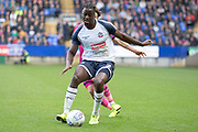 Bolton Wanderers defender Josh Emmanuel defending the ball during the EFL Sky Bet League 1 match between Bolton Wanderers and Rochdale at the University of  Bolton Stadium, Bolton, England on 19 October 2019.