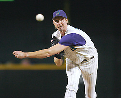 Phoenix, AZ 07-15-04 Arizona Diamondbacks' pitcher Randy Johnson throws against the L.A. Dodgers in a 4-3 loss. Johnson pitched 7 inniings allowing 4 hits and no runs in the loss. Ross Mason photo