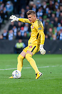 Western Sydney Wanderers goalkeeper Daniel Nizic (1) goes for a goal kick at the FFA Cup quarter-final soccer match between Melbourne City FC and Western Sydney Wanderers FC at AAMI Park in Melbourne.