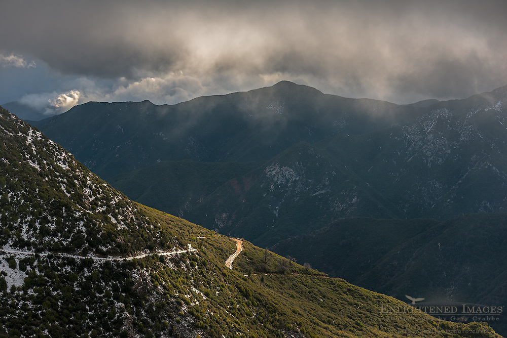 Storm clouds over road in Los Padres National Forest, Monterey County, California