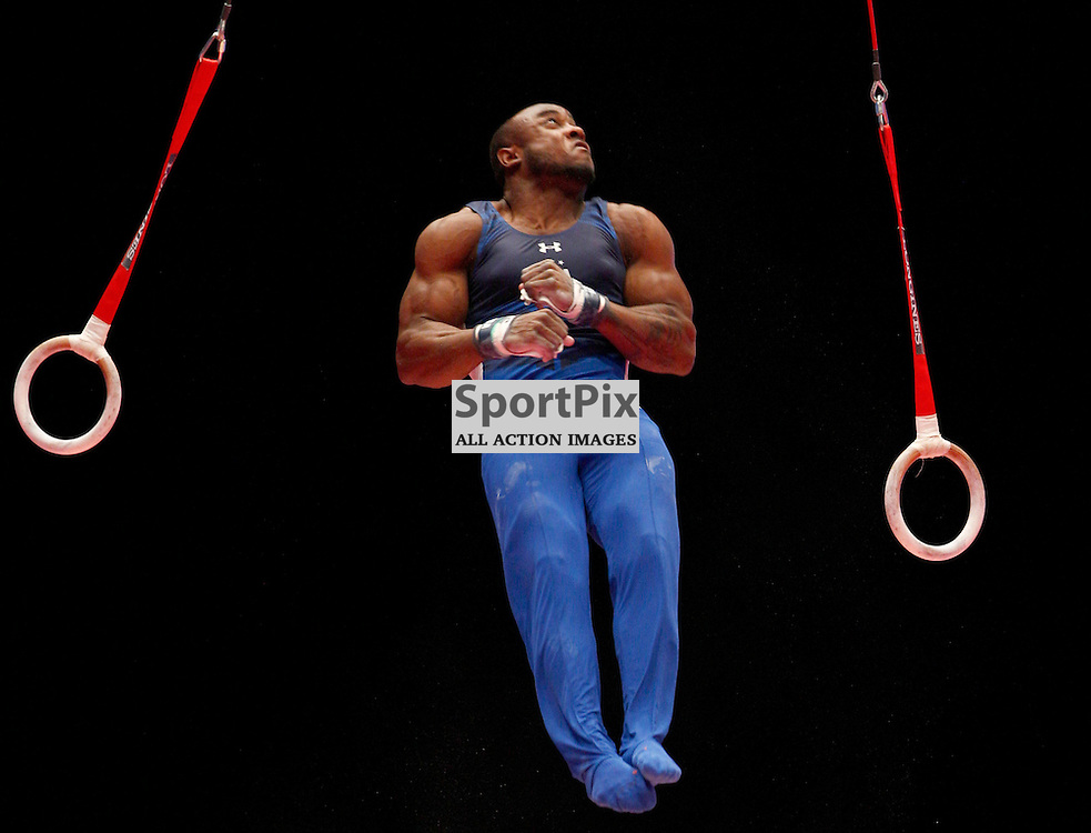 2015 Artistic Gymnastics World Championships being held in Glasgow from 23rd October to 1st November 2015....Donnell Whittenburg (USA) competing in the Still Rings competition..(c) STEPHEN LAWSON | SportPix.org.uk