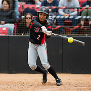 12 May 2018: San Diego State outfielder Zaria Meschack has the game winning  walk off hit in the bottom of the seventh inning. San Diego State women's softball closed out the season against Utah State with a 3-2 win on seniors day and sweep the series. <br /> More game action at sdsuaztecphotos.com