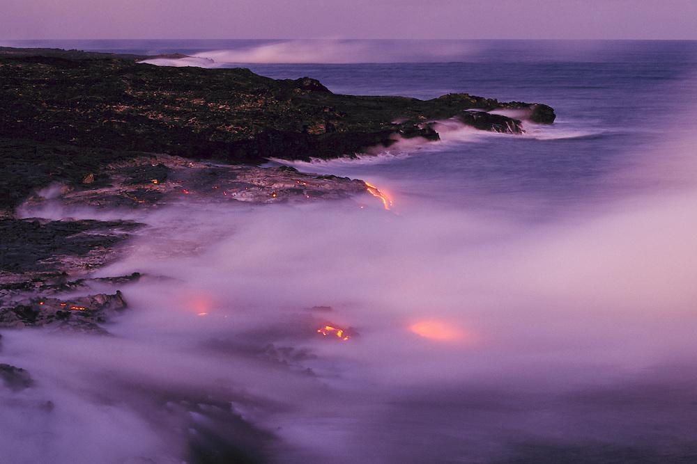 Pu'u O'u volcano eruption lava flow entering ocean; Hawaii Volcanoes National Park..