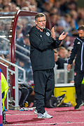 Heart of Midlothian manager Craig Levein applauds his team during the Betfred Scottish Football League Cup quarter final match between Heart of Midlothian FC and Aberdeen FC at Tynecastle Stadium, Edinburgh, Scotland on 25 September 2019.