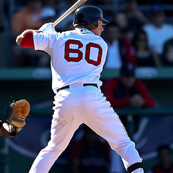 March 12, 2011; Fort Myers, FL, USA; Boston Red Sox left fielder Daniel Nava (60) during a spring training exhibition game against the Florida Marlins at City of Palms Park. The Red Sox defeated the Marlins 9-2.  Mandatory Credit: Derick E. Hingle