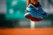 Illustration of Nike shoes and cley of Madison KEYS (USA) at service during the Roland Garros French Tennis Open 2018, day 12, on June 7, 2018, at the Roland Garros Stadium in Paris, France - Photo Stephane Allaman / ProSportsImages / DPPI