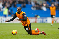 Benik Afobe of Wolverhampton Wanderers goes down just outside the penalty area - Photo mandatory by-line: Rogan Thomson/JMP - 07966 386802 - 28/02/2015 - SPORT - FOOTBALL - Cardiff, Wales - Cardiff City Stadium - Cardiff City v Wolverhampton Wanderers - Sky Bet Championship.