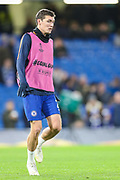 Chelsea defender Andreas Christensen (27) warms prior to the Champions League group stage match between Chelsea and PAOK Salonica at Stamford Bridge, London, England on 29 November 2018.