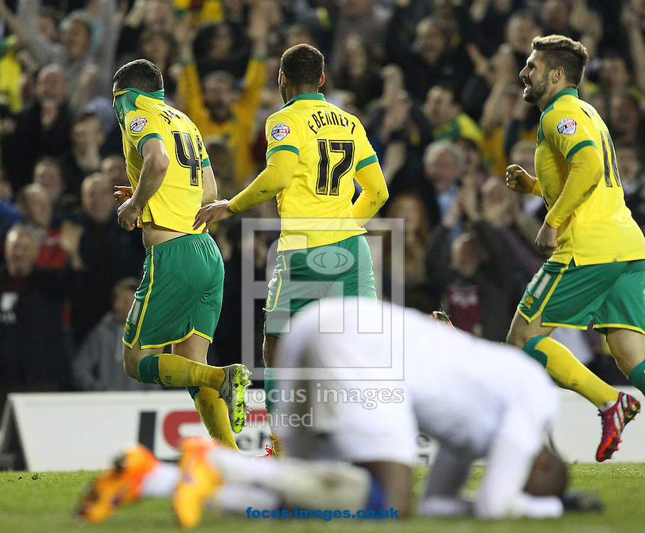 Graham Dorrans of Norwich runs off to celebrate scoring his side's 2nd goal during the Sky Bet Championship match at Elland Road, Leeds<br /> Picture by Paul Chesterton/Focus Images Ltd +44 7904 640267<br /> 14/04/2015