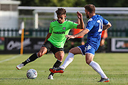 Forest Green Rovers Liam Shephard(2) takes on Leeds United's Stuart Dallas(15) during the Pre-Season Friendly match between Forest Green Rovers and Leeds United at the New Lawn, Forest Green, United Kingdom on 17 July 2018. Picture by Shane Healey.