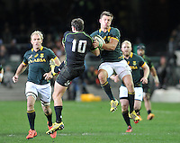 CAPE TOWN, SOUTH AFRICA - Saturday 11 July 2015, Mike Harris of the WorldXV and Handre Pollard of South Africa during the rugby test match between South Africa (Springboks) and the Word XV at Newlands Rugby stadium.<br /> Photo by Luigi Bennett / ImageSA