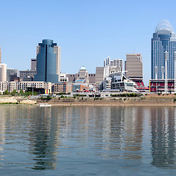 Cincinnati panoramic skyline and downtown city buildings including Great American Ballpark, Great American Insurance Group Tower, PNC Tower building, Omnicare building, US Bank building, Carew Tower building, and Scripps Center building. Photo was taken in July 2012. Panoramic ratio is 1:2 and is high resolution at 8,000 x 4,000 pixels.<br />