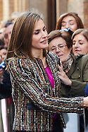 Queen Letizia of Spain visited Exhibition 'Goya and Zaragoza at 'Camon Aznar' Museum on March 10, 2015 in Zaragoza, Spain