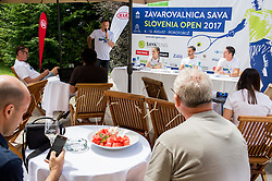 Gasper Bolhar, Alja Krajnc, Aljaz Kos and Gregor Krusic at Press conference 2 weeks before ATP Challenger Zavarovalnica Sava Slovenia Open 2017, on July 16, 2017 in TC Breskvar, Ljubljana, Slovenia. Photo by Vid Ponikvar / Sportida