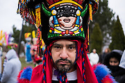 Erick Bahena, a member of the chinelos costumed dance group Union y Paz poses for a portrait before performing at the Shrine of Our Lady Guadalupe in Des Plaines as part of the Archdiocese of Chicago's annual horseback pilgrimage in honor of Our Lady of Guadalupe, Patroness of the Americas, on December 10, 2017.