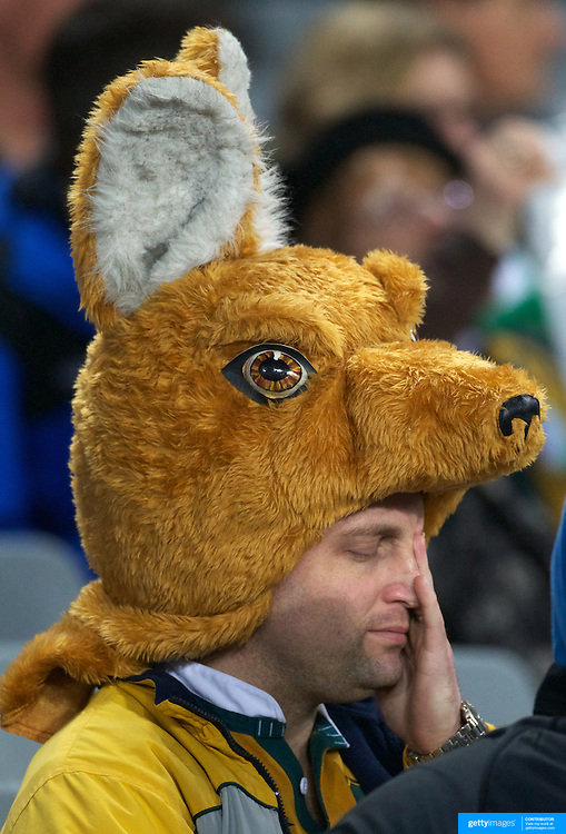 A wallaby fan during Australia's loss to Ireland during the Australia V Ireland Pool C match during the IRB Rugby World Cup tournament. Eden Park, Auckland, New Zealand, 17th September 2011. Photo Tim Clayton...