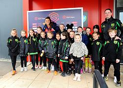 Bristol City Women pose for photographs with mascots - Mandatory by-line: Nizaam Jones/JMP- 31/03/2019 - FOOTBALL - Stoke Gifford Stadium - Bristol, England - Bristol City Women v Reading Women - FA Women's Super League 1