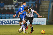 Gillingham midfielder Jake Hessenthaler (8) and Port Vale midfielder Michael Brown (17) during the EFL Sky Bet League 1 match between Gillingham and Port Vale at the MEMS Priestfield Stadium, Gillingham, England on 11 February 2017. Photo by Martin Cole.
