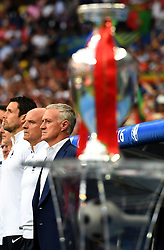 France Manager Didier Deschamps looks on behind the Henri Delaunay Trophy - Mandatory by-line: Joe Meredith/JMP - 10/07/2016 - FOOTBALL - Stade de France - Saint-Denis, France - Portugal v France - UEFA European Championship Final
