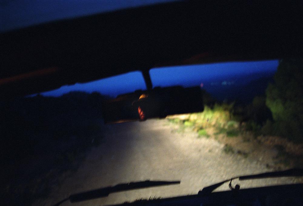 Teruel, Spain.<br /> A man driving at night.&copy;Carmen Secanella