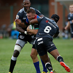 DURBAN, SOUTH AFRICA, 23, April 2016 - Tjiuee Uanivi and Khaya Majola (Captain) of the Cell C Sharks XV tackling Johann Tromp of the Windhoek Draught Welwitschias during the  Currie Cup Qualifiers match between The Cell C Sharks XV vs Windhoek Draught Welwitschias,King Zwelithini Stadium, Umlazi, Durban, South Africa. Kevin Sawyer (Steve Haag Sports) images for social media must have consent from Steve Haag