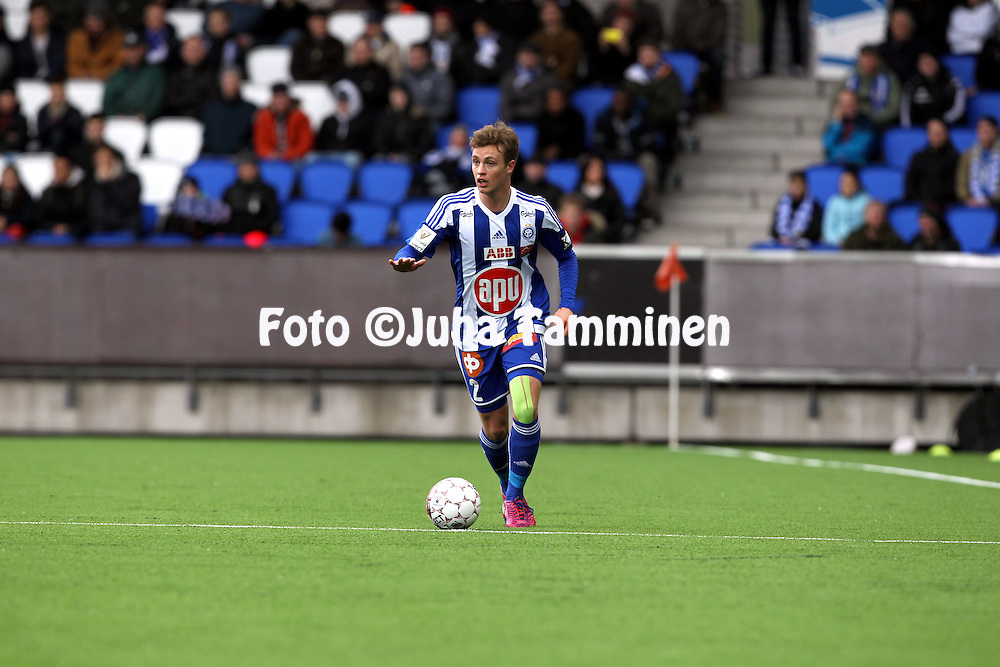 19.4.2015, Sonera stadion, Helsinki.<br /> Veikkausliiga 2015.<br /> Helsingin Jalkapalloklubi - FC Lahti..<br /> Alex Lehtinen - HJK