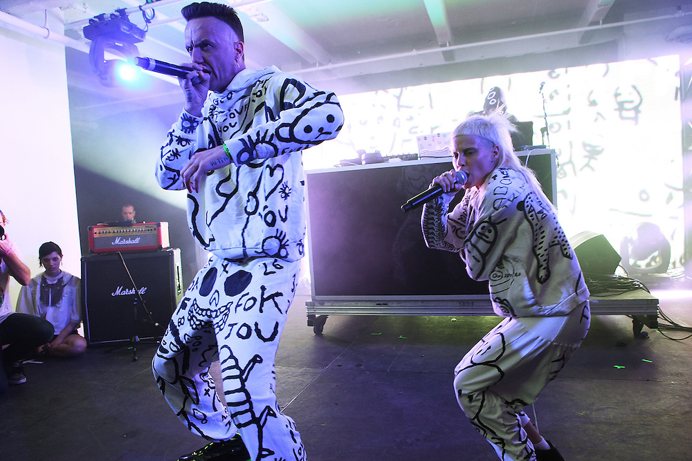 NEW YORK - JUNE 26:  (L to R) Ninja and Yo-Landi Visser  of Die Antwoord perform onstage as part of VICE & Intel's The Creator Project at Milk Studios on June 26, 2010 in New York City.  (Photo by Roger Kisby)