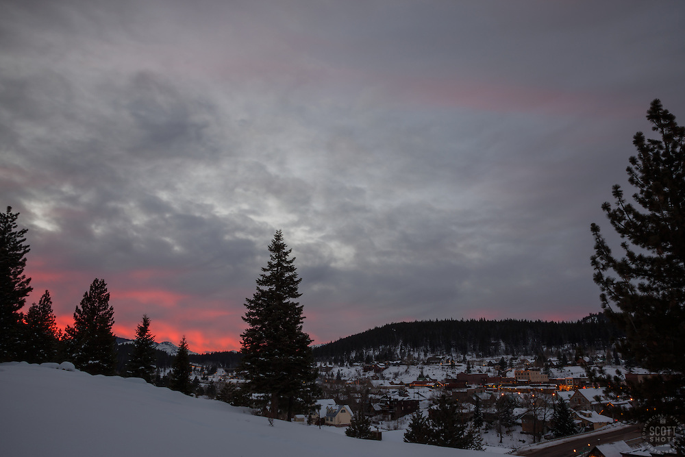 """Downtown Truckee Sunset 1"" - Photograph of a sunset over Downtown Truckee, California."