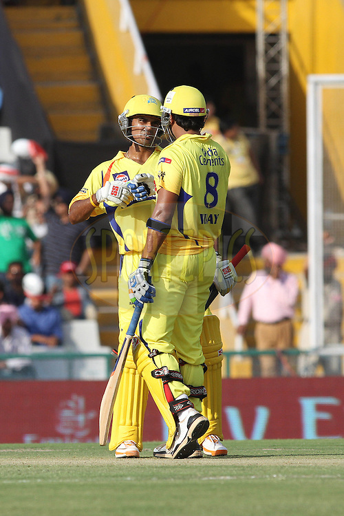 Suraj Randiv of the Chennai Super Kings and Murali Vijay of the Chennai Super Kings during match 9 of the Indian Premier League ( IPL ) Season 4 between the Kings XI Punjab and the Chennai Super Kings held at the PCA stadium in Mohali, Chandigarh, India on the 13th April 2011..Photo by Shaun Roy/BCCI/SPORTZPICS