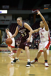 13 January 2007: Breton Wyett backs in against Tamara Butler. The Missouri State Bears lost to the Redbirds of Illinois State University at Redbird Arena in Normal Illinois by a score of 76-47.<br />