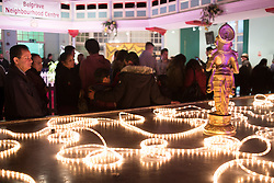 """© Licensed to London News Pictures. 01/11/2015. Leicester, UK. More than 35,000 people were estimated to have attended the annual Diwali ight switch-on which took place along the named """"Golden Mile"""" in Belgrave Road, Leicester. Pictured, the displays inside the Belgrave Neighbourhood Centre. Photo credit : Dave Warren/LNP"""