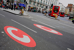 UK ENGLAND LONDON 14MAY10 - London congestion charging signs demarking the charging zone in central London. A payment of £8 is required each day for each vehicle which travels within the zone between 7am and 6pm on workdays...The charge aims to reduce congestion, and raise investment funds for London's transport system...jre/Photo by Jiri Rezac..© Jiri Rezac 2010