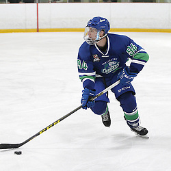 BURLINGTON, ON - SEP 9:  Michael Boushy #94 of the Burlington Cougars skates with the puck during the OJHL regular season game between the Orangeville Flyers and the Burlington Cougars. <br /> (Photo by Tim Bates / OJHL Images)