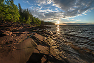 The sun nears the horizon over Union Bay, Porcupine Mountains Wilderness State Park