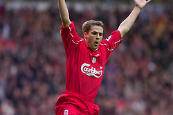 LIVERPOOL, ENGLAND - Sunday, November 4, 2001: Liverpool's Michael Owen turns to celebrates his first goal against Manchester United during the Premiership match at Anfield. (Pic by David Rawcliffe/Propaganda)