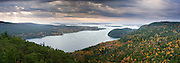 The tail end of a 'noreaster lends a dramatic sky to this fall panorama of Somes Sound on Mount Desert Island, Maine, USA